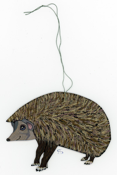 christmas decoration hedgehog back